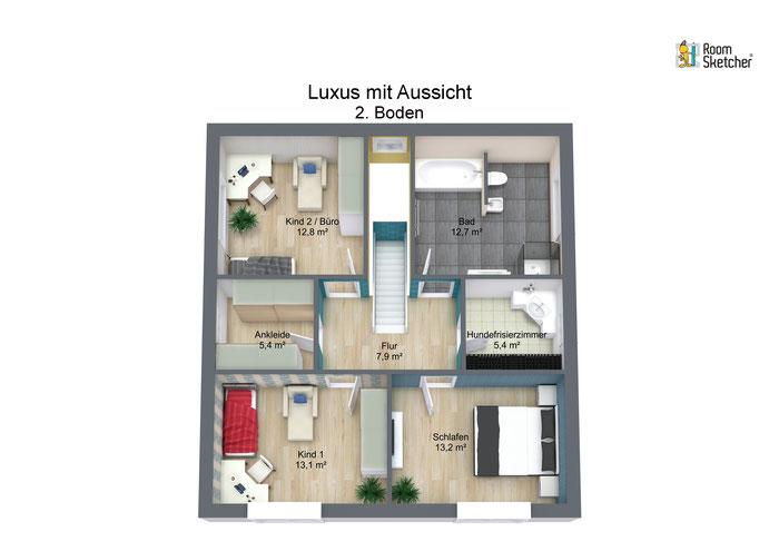 Grundriss Obergeschoss in 3 D