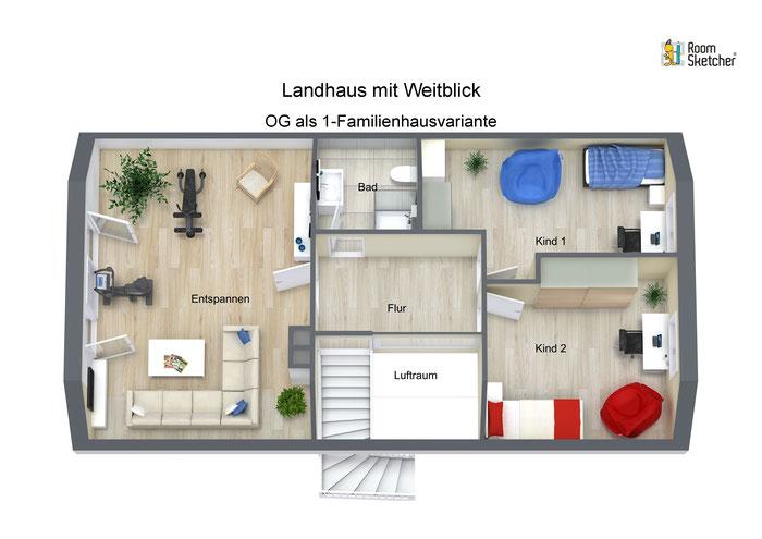 OG als 1-Familienhausvariante in 3D