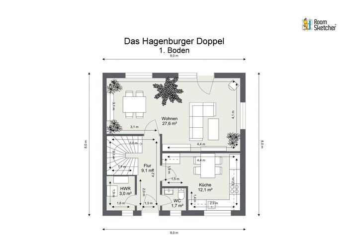 Grundrisse Erdgeschoss in 2D