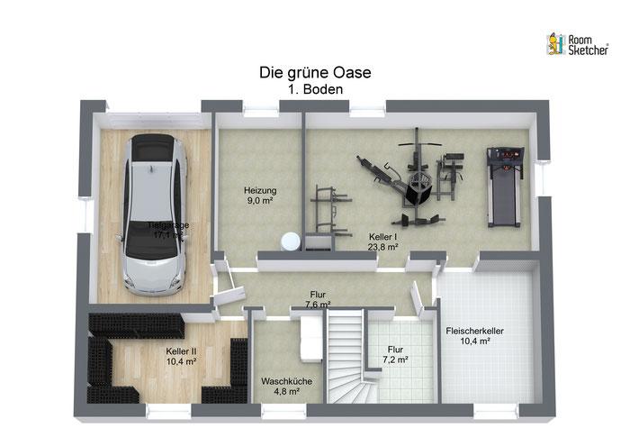 Kellergeschoss mit Tiefgarage in 3D