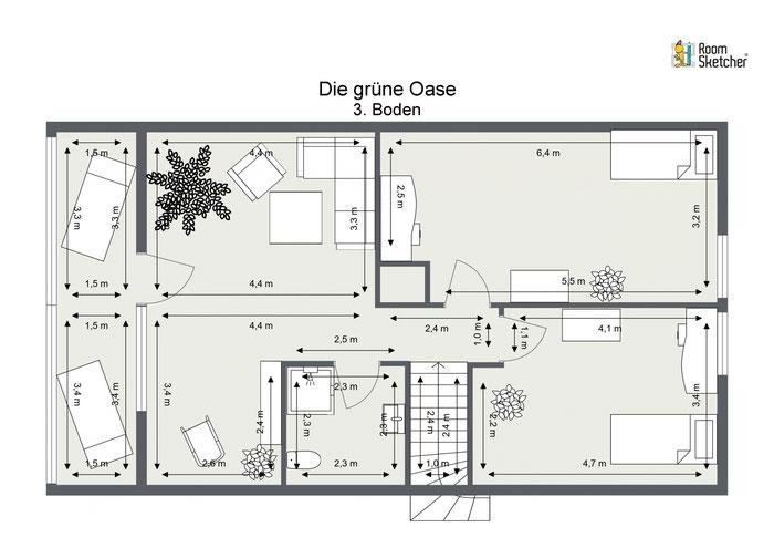 Dachgeschoss in 2D