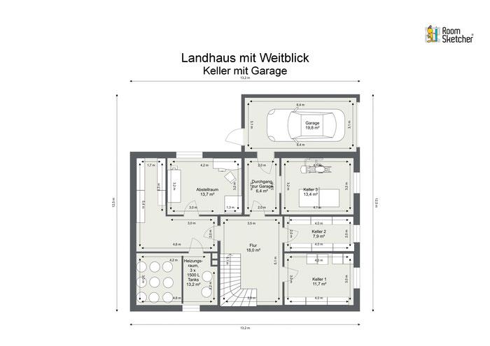 Kellergeschoss in 2D