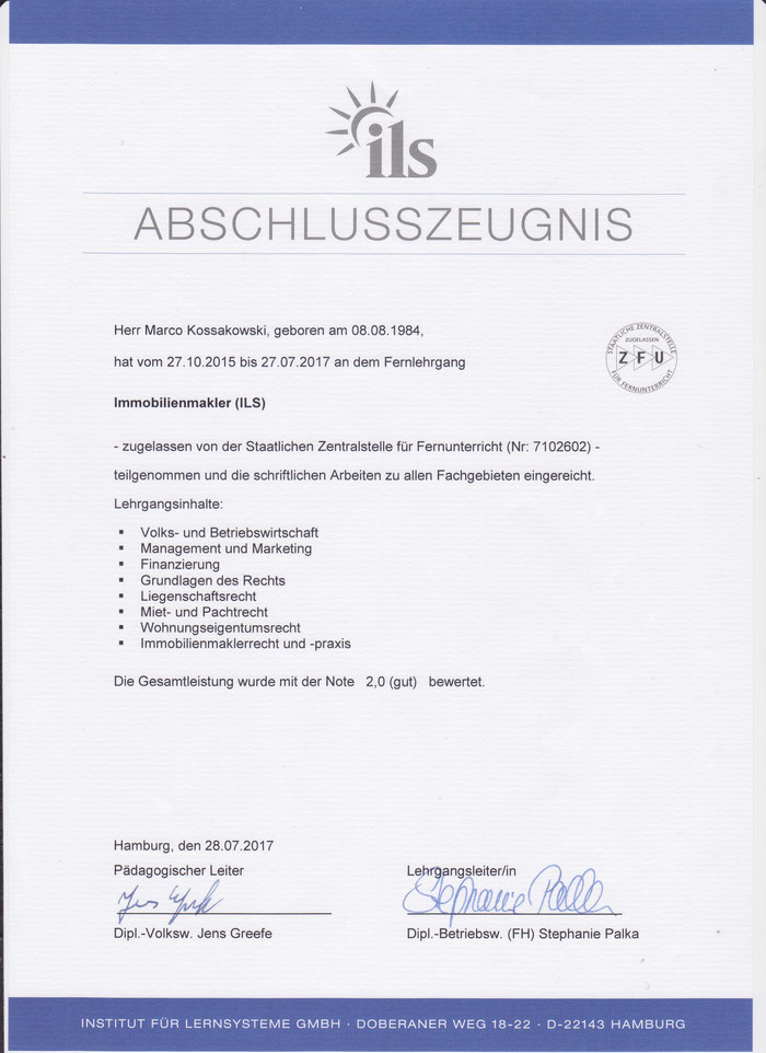 Das Abschlusszeugnis vom ILS nach 23 Einsendeaufgaben.