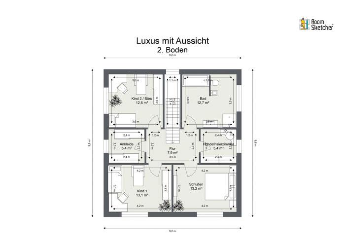 Grundriss Obergeschoss in 2D