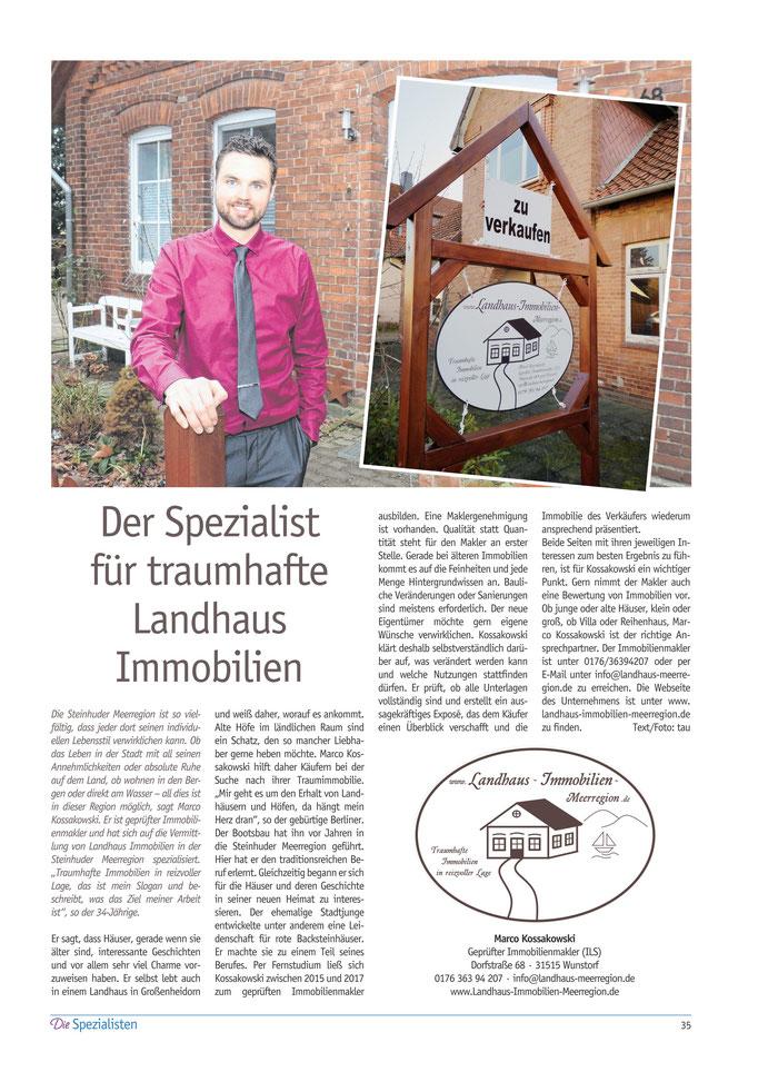 Dies ist ein Artikel aus dem Spezialistenmagazin vom Wunstorfer Stadtanzeiger, erschienen am 21.03.2019.