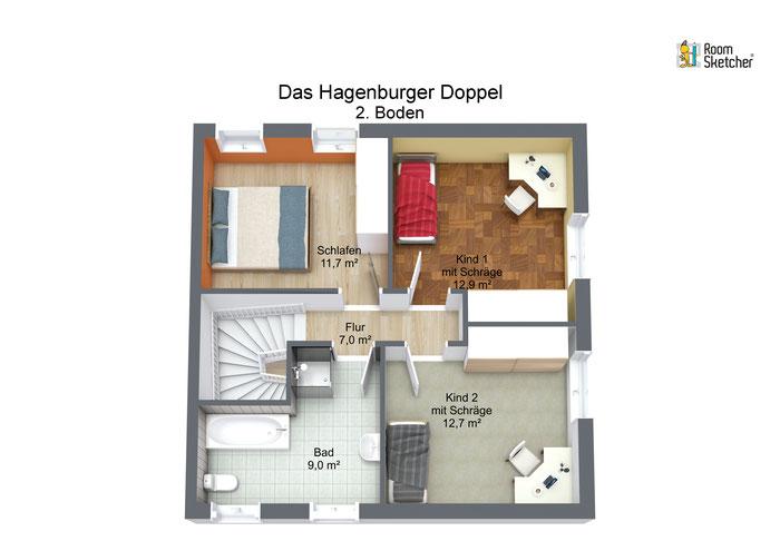 Grundriss Obergeschoss in 3D