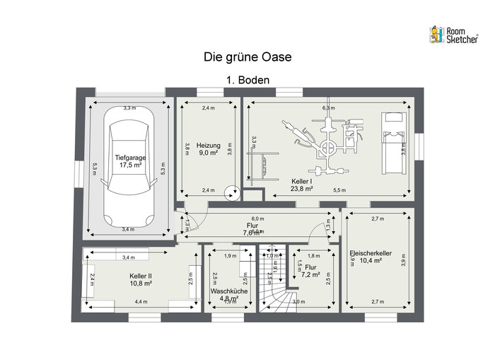 Kellergeschoss mit Tiefgarage in 2D