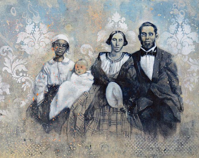 FAMILY LIFE - Acrylique et huile sur bois - 40x50 cm