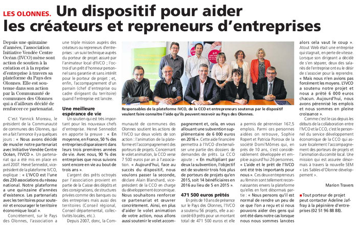Article du journal des Sables du 10 novembre 2016