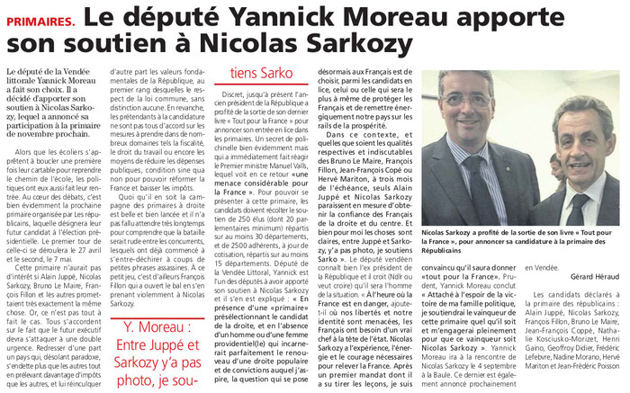 Article du Journal des Sables du 1er septembre 2016