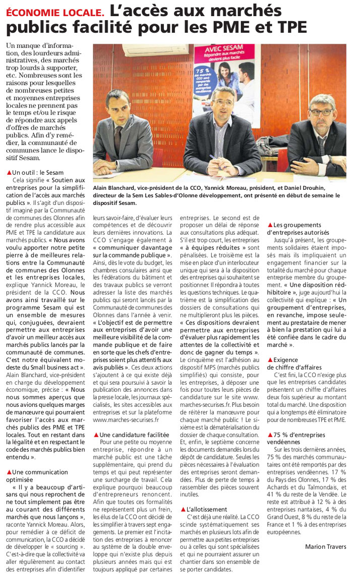 Article du Journal des Sables du 17 novembre 2016.