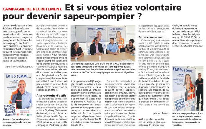 Article du Journal des Sables du 15 septembre 2016.
