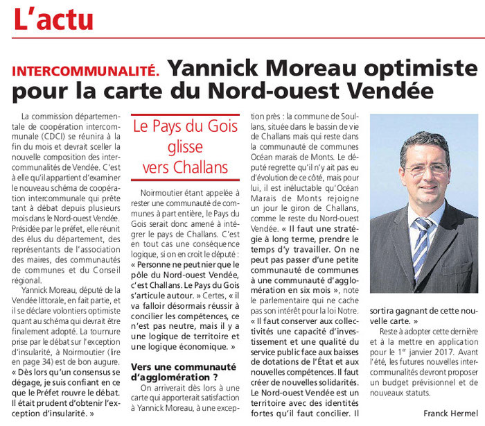 Article Courrier Vendée du 17 mars 2016.