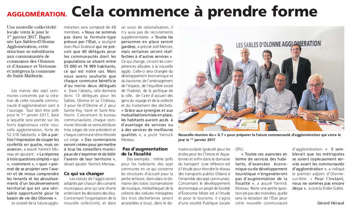Article du Journal des Sables du 22 septembre 2016