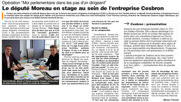Article du Journal des Sables du 31 mars 2016