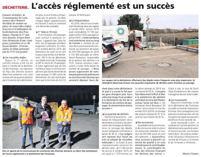 Article du journal des Sables du 24 novembre 2016