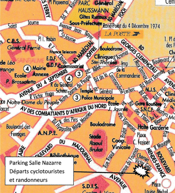 Départs cyclotouristes et randonneurs : paking Salle Nazarre