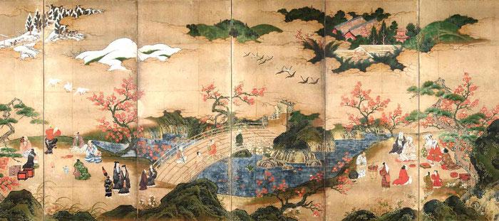 Byôbu de Kano Hideyori. Periodo Muromachi, mediados del siglo XVI.