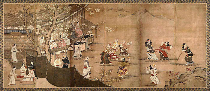 Byobu de Kanô Naganobu (1577-1654). Periodos Momoyama-Edo, finales del siglo XVI comienzos del XVII.
