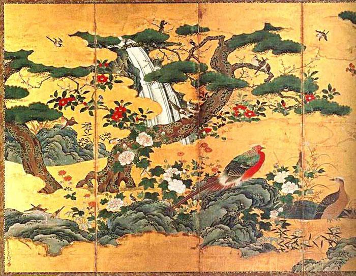 Byôbu de Kano Motonobu. Periodo Muromachi, mediados del siglo XVI.