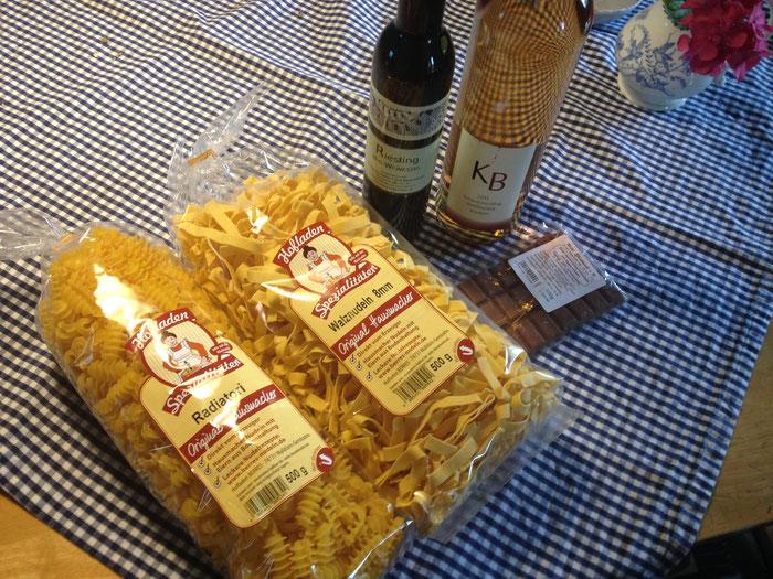 Es gibt auch Nudeln und Schokolade aus Odenwälder Produktion!
