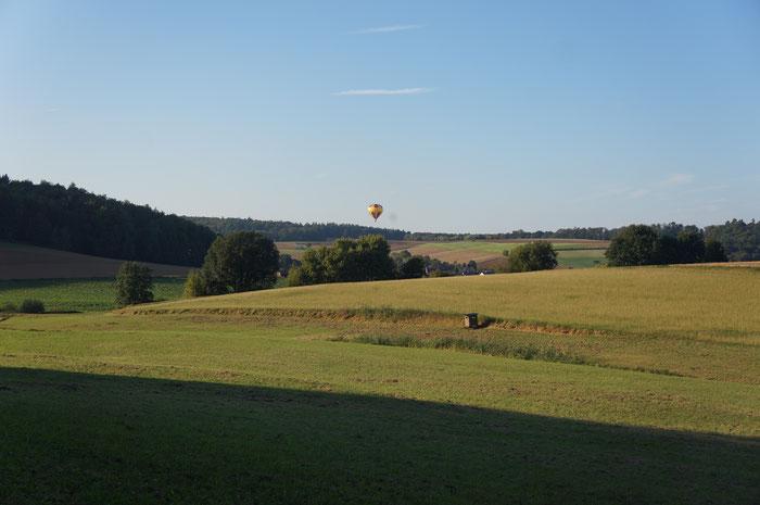 Ballonfahrer steigt über dem Fischbachtal auf.