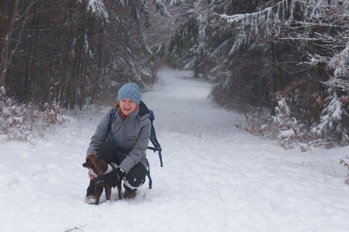 Odenwaldlust-Begleithund Maira meistert ihren ersten Ausflug in den Tiefschnee vorbildlich.