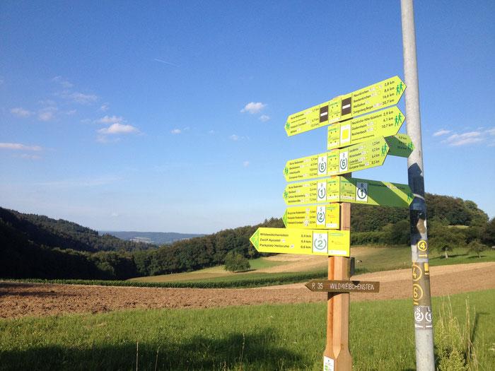 """Wander- und Radtouren führen rund ums Gasthaus """"Zur Freiheit"""" in Laudenau."""