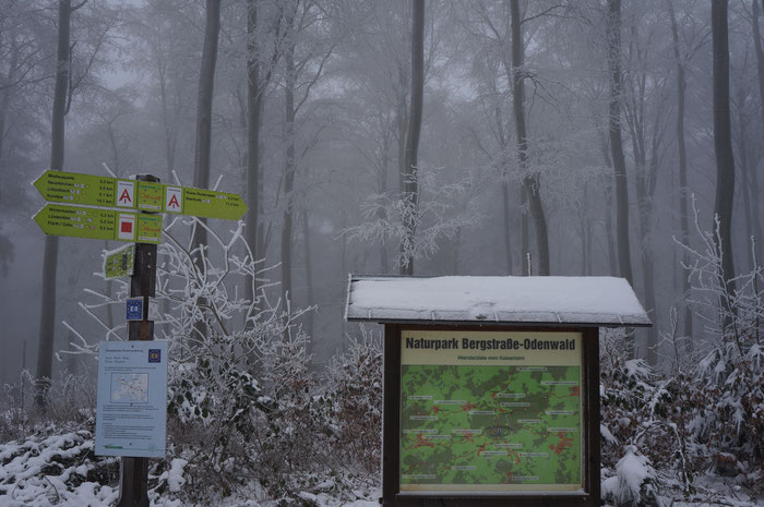 Rund um den Kaiserturm auf der Neunkirchner Höhe laden verschneite Wanderwege zu einer Winterwanderung ein.