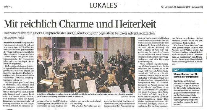 Adventskonzert Instrumentalverein Effeld e.V. 2019