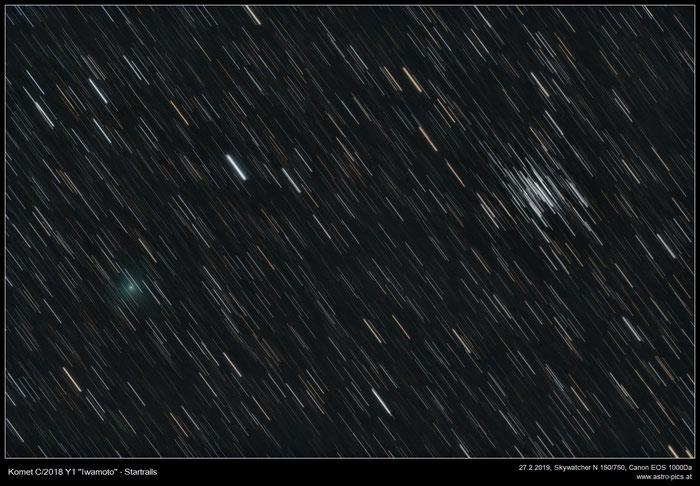 Komet Iwamoto bei M36, Strichspur-Aufnahme