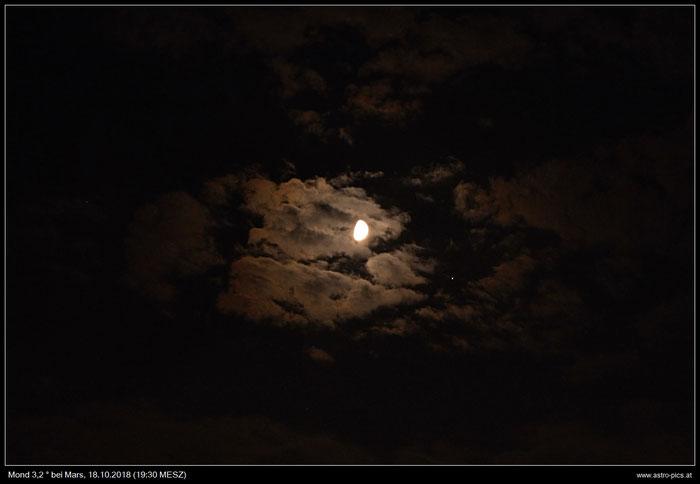 Mond 3,2 Grad neben Mars