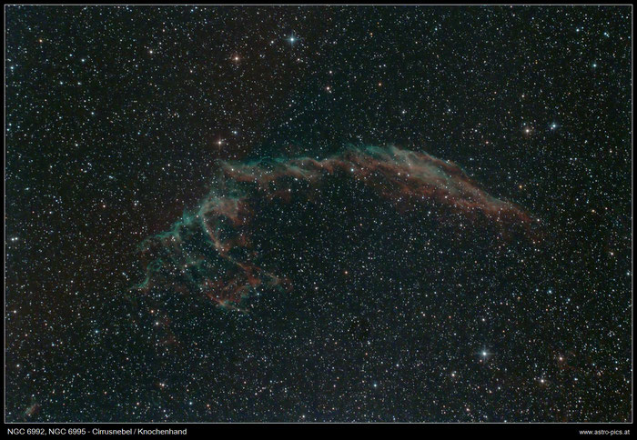 NGC 6992, NGC 6995, Knochenhand, Cirrusnebel im Schwan