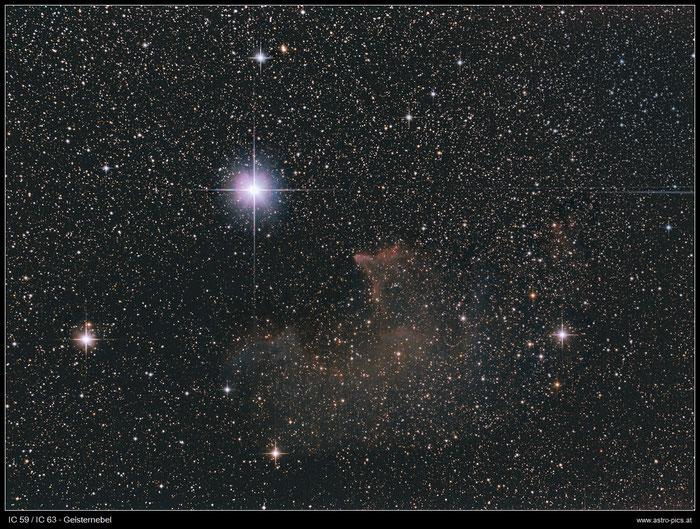IC 59 / IC 63, Geisternebel, Ghost Nebula, aufgenommen mit Canon EOS 1000 Da mit Skywatcher Newton 150/750 mm