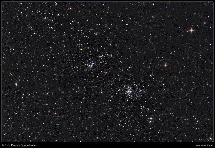 h & chi Persei, Doppelhaufen im Sternbild Perseus, aufgenommen mit Canon EOS 1000Da und Skywatcher Newton 150/750 mm
