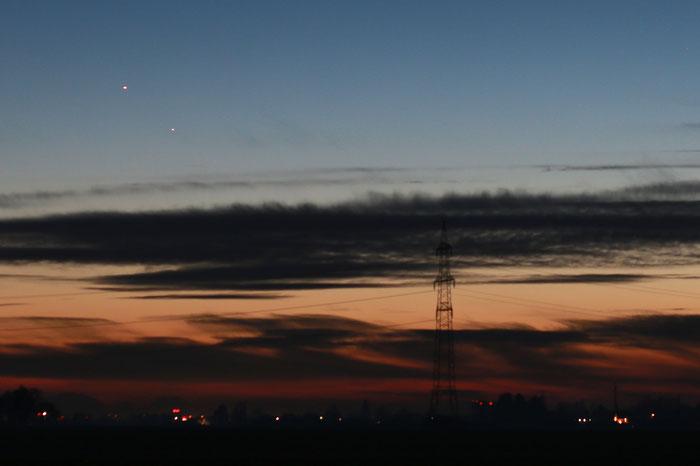 Jupiter und Saturn am Abendhimmel, 10 Tage nach der Konjunktion am 21.12.2020