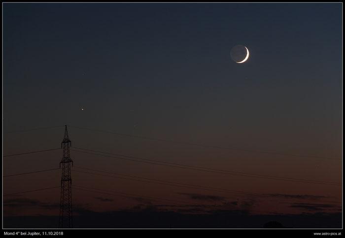Mondsichel 4 Grad bei Jupiter