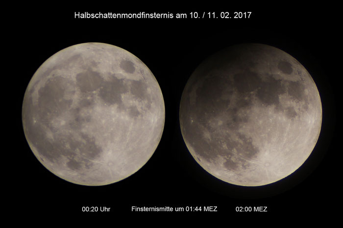 Halbschatten-Mondfinsternis vo 10./11.02.2017