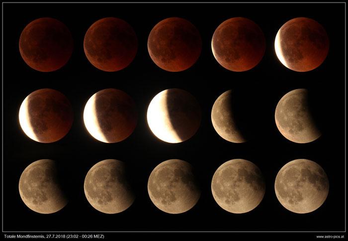 Mondfinsternis 2018 - Collage der Phasen von 23:02 bis 00:26 Uhr