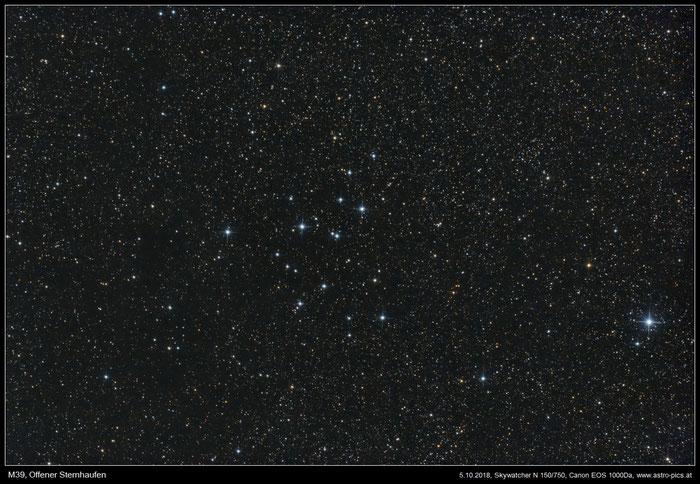 M39, Offener Sternhaufen im Sternbild Schwan