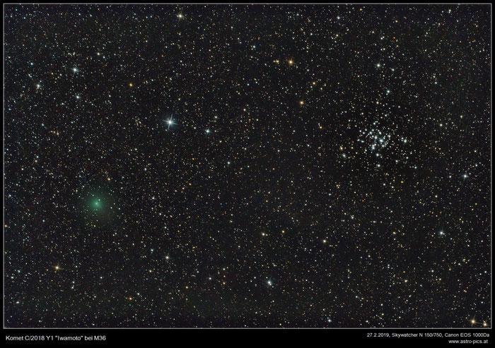 Komet Iwamoto beim offenen Sternhaufen M36