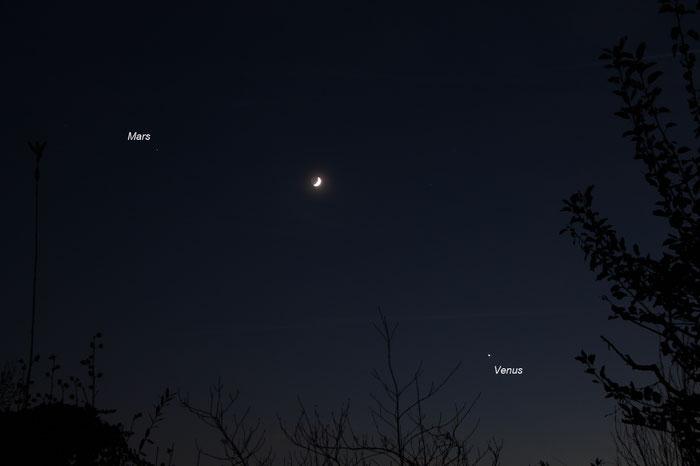 Planetenkonstellation, Mond, Mars, Venus