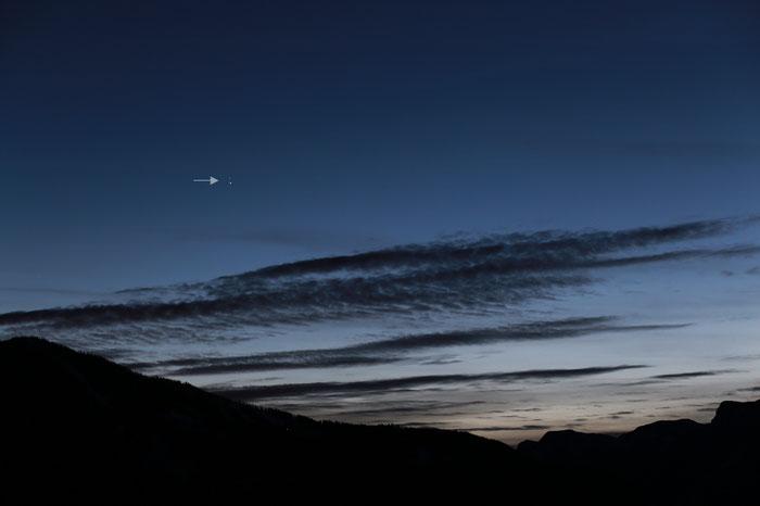 Jupiter und Saturn in der Abenddämmerung