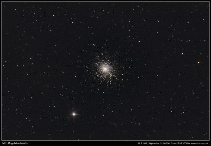 M5, Kugelsternhaufen im Sternbild Schlange