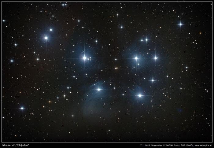 M45, Plejaden im Sternbild Stier