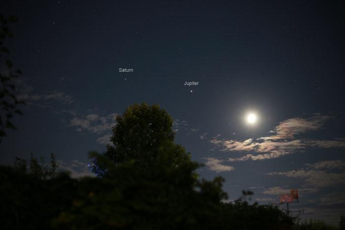 Saturn, Jupiter & Mond Begegnung
