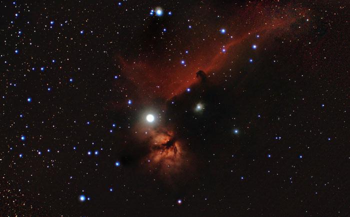 Flammennebel, NGC 2042, Pferdekopfnebel, B 33, Orion