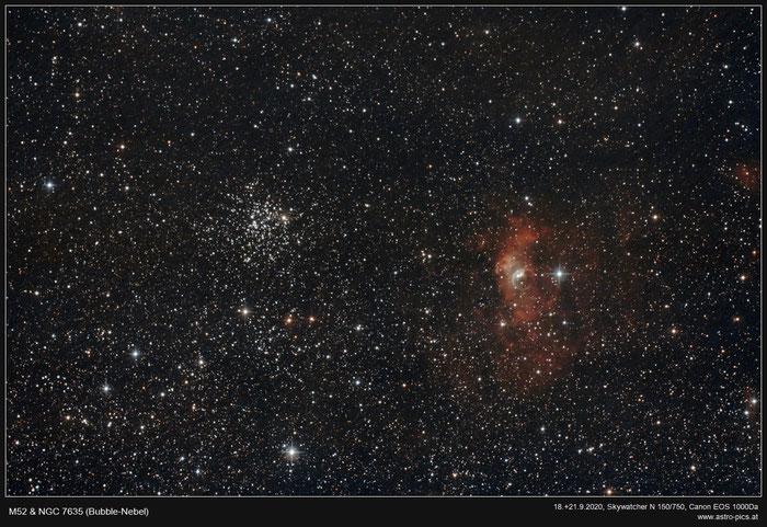 M52 & NGC 7635, Blasennebel