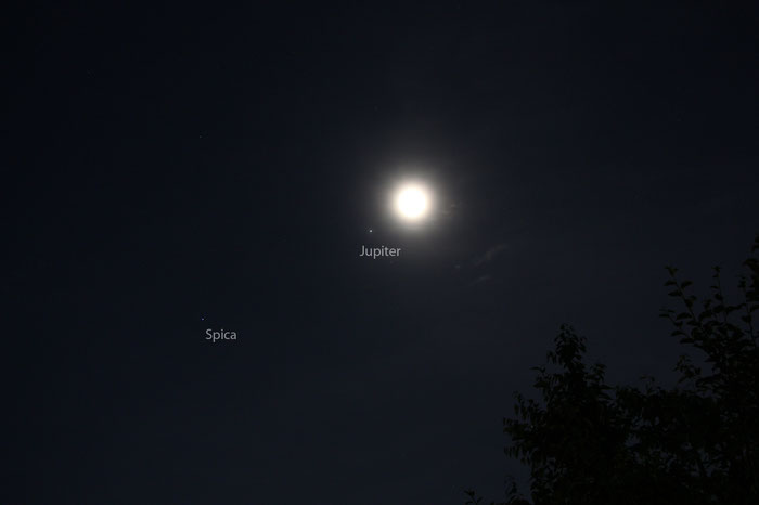 Mond, Jupiter, Spica