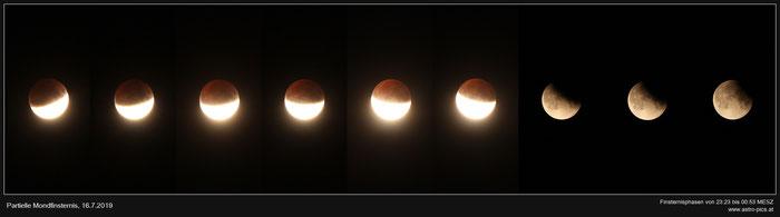 Partielle Mondfinsternis vom 16.7.2019, Finsternisphasen